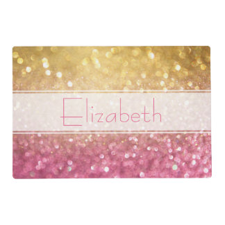 Faux glitter personalized placement placemat