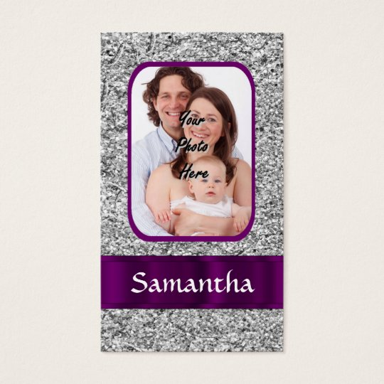 Faux glitter photo background business card