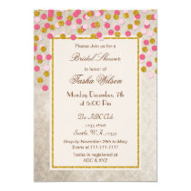 FAUX Glitter Pink Gold confetti Bridal Shower Card