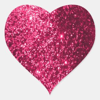 Faux Glitter Pink Heart Sticker