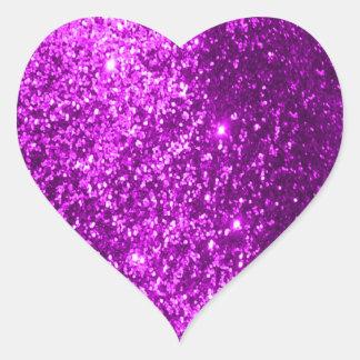 Faux Glitter Purple Heart Sticker