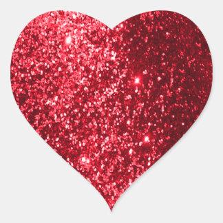 Faux Glitter Red Heart Sticker