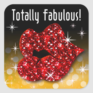(faux) Glitter Red Lips Totally Fabulous | gold2 Square Sticker