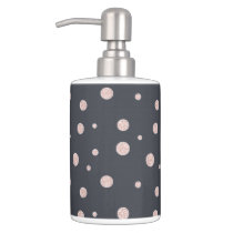 FAUX glitter rose gold blush dotty pattern Bathroom Set