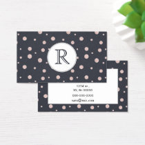 FAUX glitter rose gold blush dotty pattern Business Card