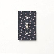 FAUX glitter rose gold blush dotty pattern Light Switch Cover