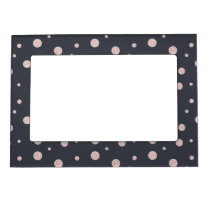 FAUX glitter rose gold blush dotty pattern Magnetic Picture Frame
