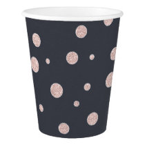 FAUX glitter rose gold blush dotty pattern Paper Cup
