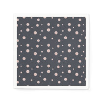 FAUX glitter rose gold blush dotty pattern Paper Napkin
