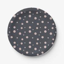 FAUX glitter rose gold blush dotty pattern Paper Plate