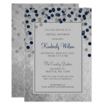 FAUX Glitter Silver Navy confetti Bridal Shower Card