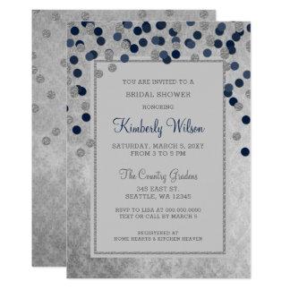 FAUX Glitter Silver Navy confetti Bridal Shower Invitation