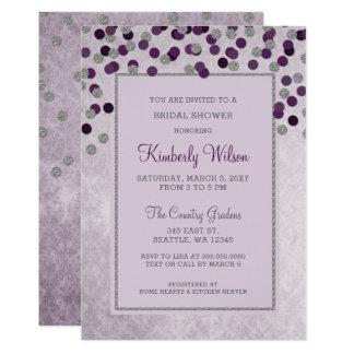 FAUX Glitter Silver Purple confetti Bridal Shower Card
