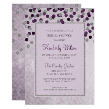 FAUX Glitter Silver Purple confetti Bridal Shower Card