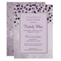 FAUX Glitter Silver Purple confetti Bridal Shower Invitation