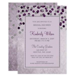 faux glitter silver purple confetti bridal shower invitation
