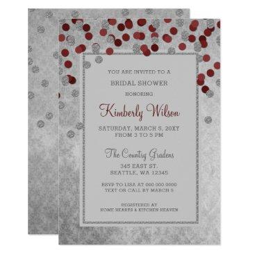 FAUX Glitter Silver Red confetti Bridal Shower Card
