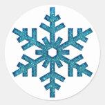 Faux Glitter Snowflake Christmas SticG Classic Round Sticker