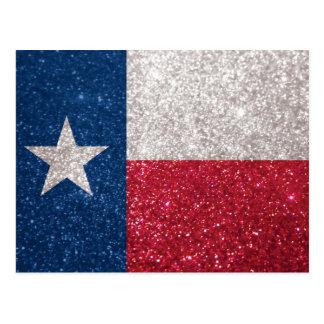 Faux Glitter Texas flag Postcard