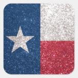 Faux Glitter Texas flag Square Sticker
