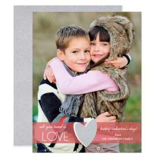 Faux Glitter Valentine's Day Photo Card
