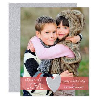 Faux Glitter Valentine's Day Photo Card