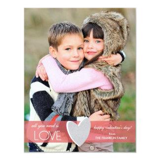 "Faux Glitter Valentine's Day Photo Card 4.25"" X 5.5"" Invitation Card"