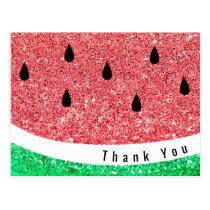 faux glitter watermelon slice thank you postcard