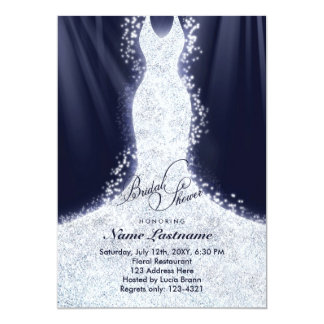 Faux Glitter Wedding Gown Bridal Shower Invite