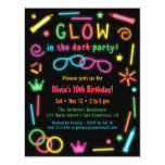 Faux Glow In The Dark Birthday Party Invitations at Zazzle