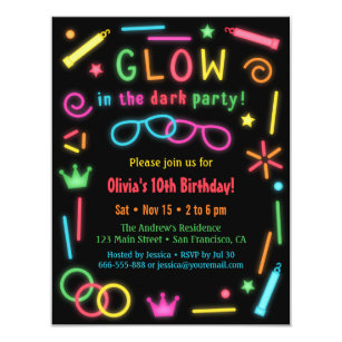Glow In The Dark Party Invitations Zazzle