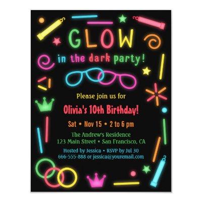 Faux Neon Glow Birthday Party Invitations Zazzlecom