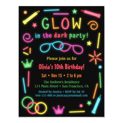 Faux Retro Cassette Neon Glow Birthday Party Card – Glow Party Invite