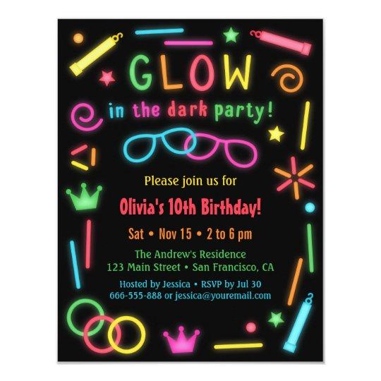 Faux Glow In the Dark Birthday Party Invitations Zazzlecom