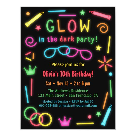 Faux Glow In the Dark Birthday Party Invitations – Glow Party Invite