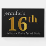 [ Thumbnail: Faux Gold 16th Birthday Party Guest Book ]