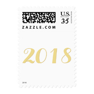 Faux Gold 2018 New Year Elegant Script Postcard US Postage