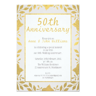Faux Gold 50th Wedding Anniversary Invitation