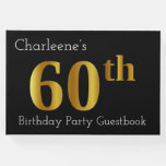 [ Thumbnail: Faux Gold 60th Birthday Party Guestbook ]