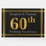[ Thumbnail: Faux Gold 60th Wedding Anniversary Guest Book ]