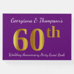 [ Thumbnail: Faux Gold 60th Wedding Anniversary Party Guestbook ]