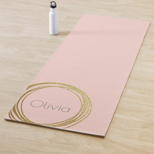 Faux Gold Abstract Circle Design with Name Yoga Mat