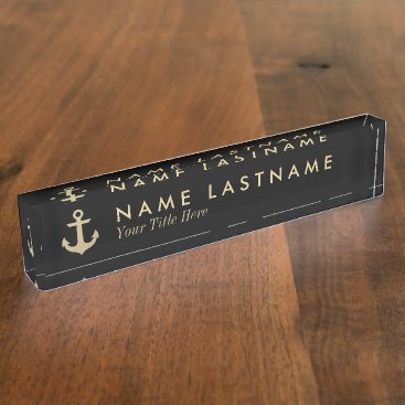 Professional Business Faux Gold Anchor Black Custom Desk Nameplate