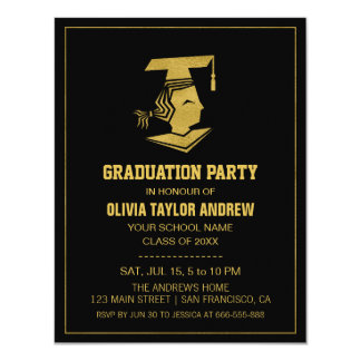 Faux Gold and Black Graduation Party Invitation