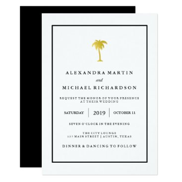 Beach Themed Faux Gold and Black Palm Tree | Glam Wedding Card