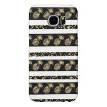 Faux gold and black polka dots pineapple stripe samsung galaxy s6 case