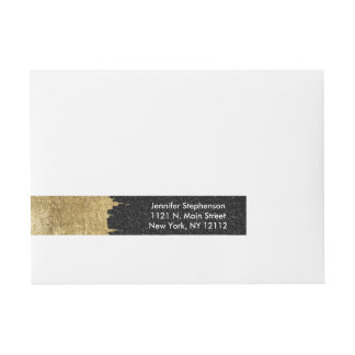Faux Gold and Black Starry Night Brushstrokes Wrap Around Address Label