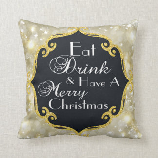 Faux Gold and Bokeh Christmas Throw Pillow