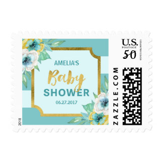 Faux Gold and Mint Floral Baby Shower Postage