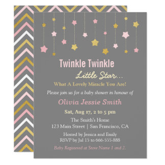 Faux Gold and Pink Twinkle Little Star Baby Shower Card